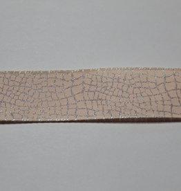 Holografisch lint slangenprint reptile zachtrose 25mm