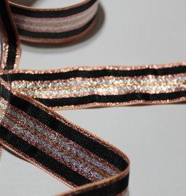 Lint roségold met lijnen in zwart/zilver/goud 25mm