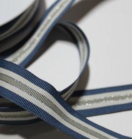Ripslint tricolore 22mm jeansblauw/offwhite/lichtkaki met zilveren lurex lijn