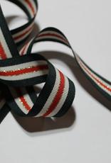 Ripslint tricolore 22mm dennengroen/offwhite/rood met gouden lurex lijn