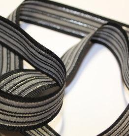 Lint zwart met lijnen in zilveren lurex 25mm