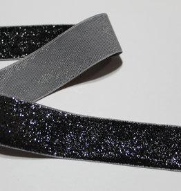 Glitter suede lint zwart/zilver 25mm