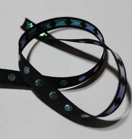 Lint zwart met holografische stippen 10mmx2m