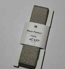 Grosgrain ripslint lurex goud grijs 25mmx3m