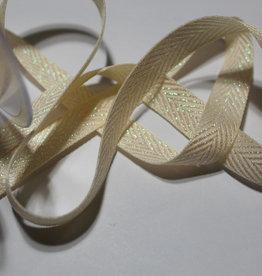 lint met zigzag motief lurex holografisch wit 15mm