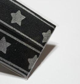 Gallon lint 30mm zwart met zilveren sterren - pakket van 2x125mm