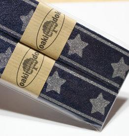 Gallon lint 30mm blauw met zilveren sterren - pakket van 2x125mm