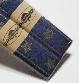 Gallon lint 30mm blauw met gouden sterren - pakket van 2x125mm