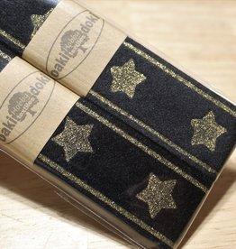 Gallon lint 30mm zwart met gouden sterren - pakket van 2x125mm