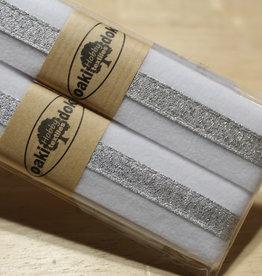 Gallon lint 30mm wit met zilveren lijn pakket van 2x125mm