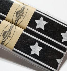 Gallon lint 30mm zwart met witte sterren - pakket van 2x125mm