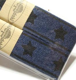 Gallon lint 30mm blauw met zwarte sterren - pakket van 2x125mm