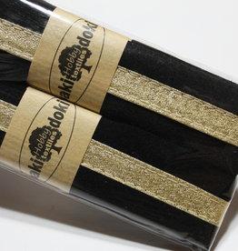 Gallon lint 30mm zwart met gouden lijn pakket van 2x125mm