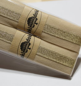 Gallon lint 30mm beige met gouden lijn pakket van 2x125mm