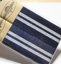 Gallon lint 30mm blauw met 2 witte lijnen pakket van 2x125mm