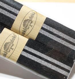 Gallon lint 30mm zwart met 2 zilveren lijnen pakket van 2x125mm