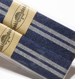 Gallon lint 30mm blauw met 2 zilveren lijnen pakket van 2x125mm