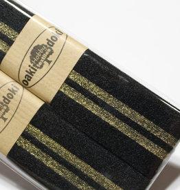 Gallon lint 30mm zwart met 2 gouden lijnen pakket van 2x125mm