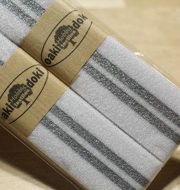 Gallon lint 30mm wit met 2 zilveren lijnen pakket van 2x125mm