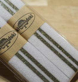 Gallon lint 30mm wit met 2 gouden lijnen pakket van 2x125mm