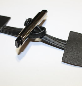 Houtje Touwtje sluiting in imitatieleder zwart met zilveren slotjes
