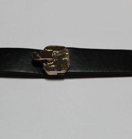 Mantelsluiting goud met zwart lederen banden