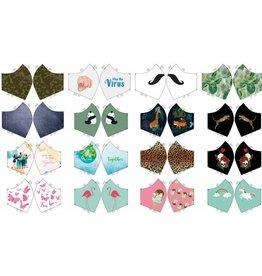 Paneel 16 modellen dames, heren en kinderen mondmaskers