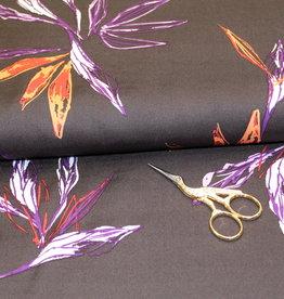 Viscose met paarse en oranje bladermotief