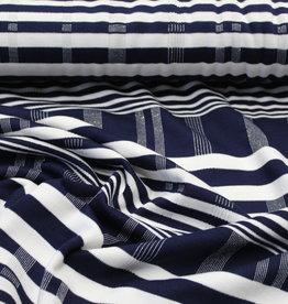 Stretch karo geruit blauw/wit met lurex zilver