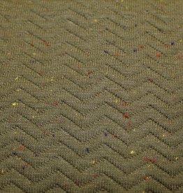 Gewatteerd gestept visgraat kaki met confetti spikkels