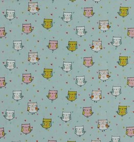 Poppy Poplin Glitter Lovely Owls mint