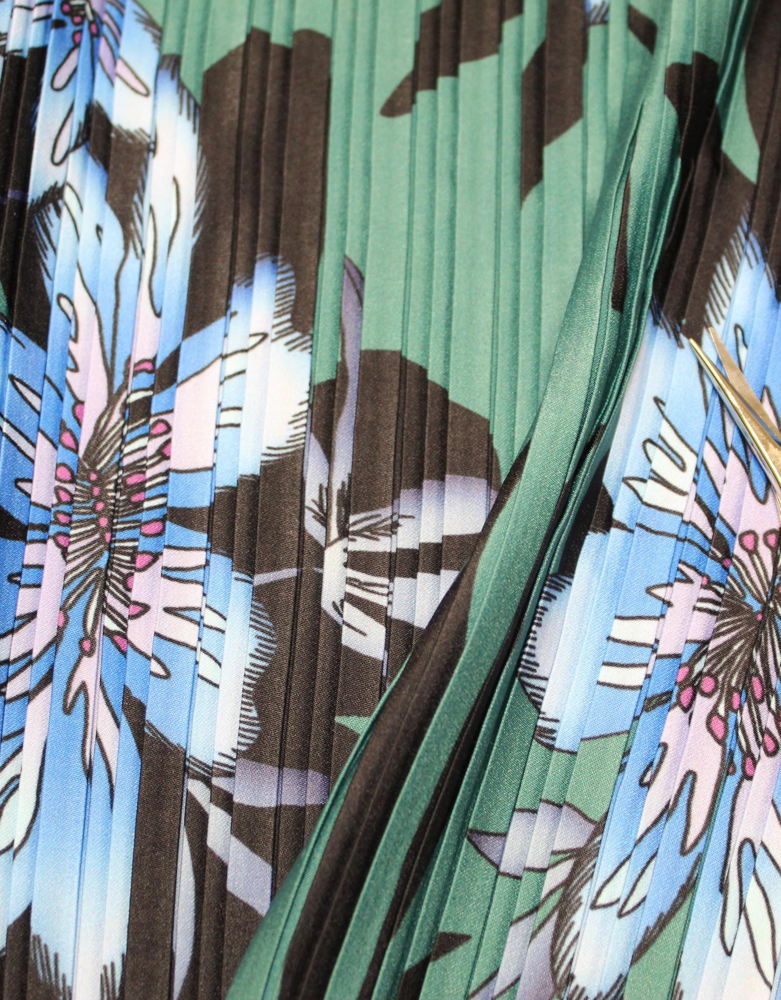Plissee diepgroen met grote bloemenprint