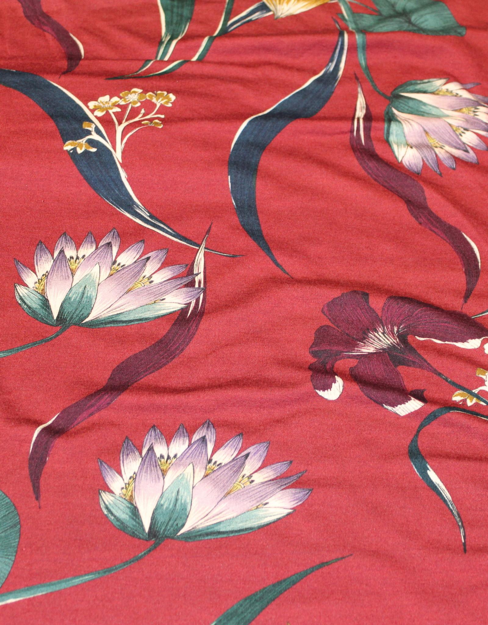 Viscosejersey bordeau met grote bloemen