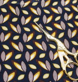 Viscose donkerblauw met kleine blaadjes