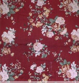 COUPON  Corduroy bordeau met bloemenprint 55x150cm