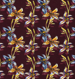 Nooteboom COUPON Tricot aubergine lelies 55x140cm