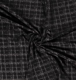 Nooteboom Gebreide jacquard structuur zwart met zilveren ruiten