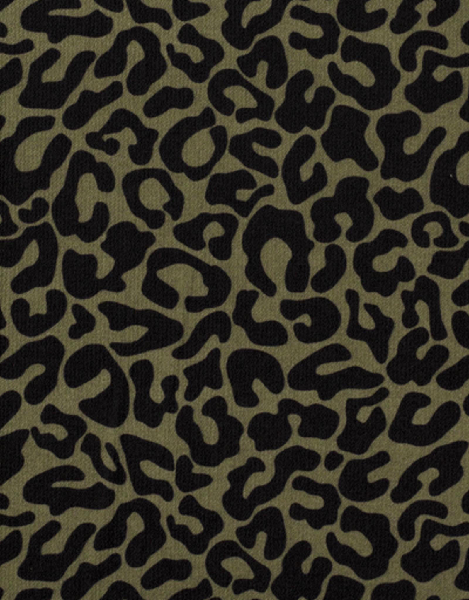 Bubble chiffon luipaardprint kaki