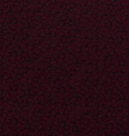 COUPON Discharge tricot zwart met bordeaux bladermotief 90x150cm