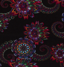 Nooteboom COUPON  Discharge Psychedelic Flowers Colours 110x150cm
