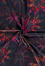 Nooteboom COUPON  Discharge kleurrijke druppels navy 65x150cm