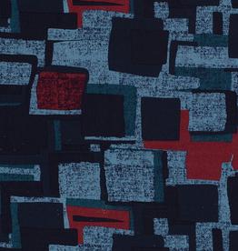 Nooteboom Viscosetricot retro geblokt patroon blauw
