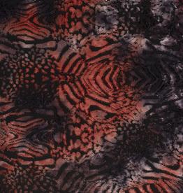 Nooteboom Tricot tie-dye dierenprint roest/zwart