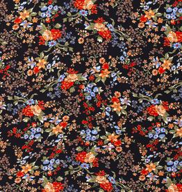 Nooteboom COUPON Viscose twill zwart met oranje bloemen 40x140cm