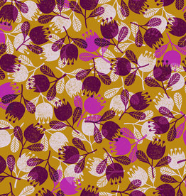 Happy day oker paars gebloemd