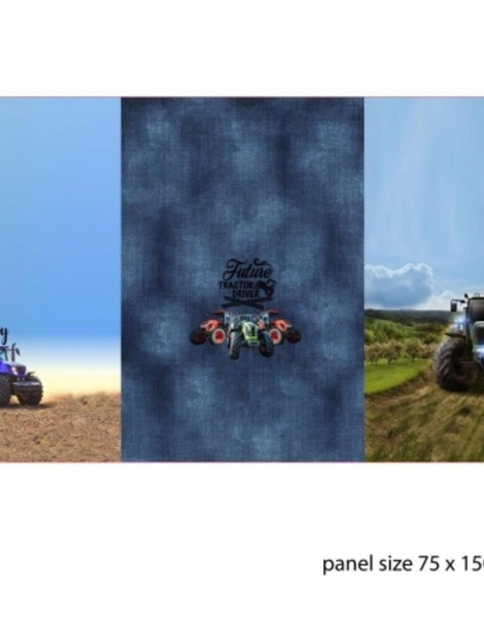 Paneel 3x tractor op french terry