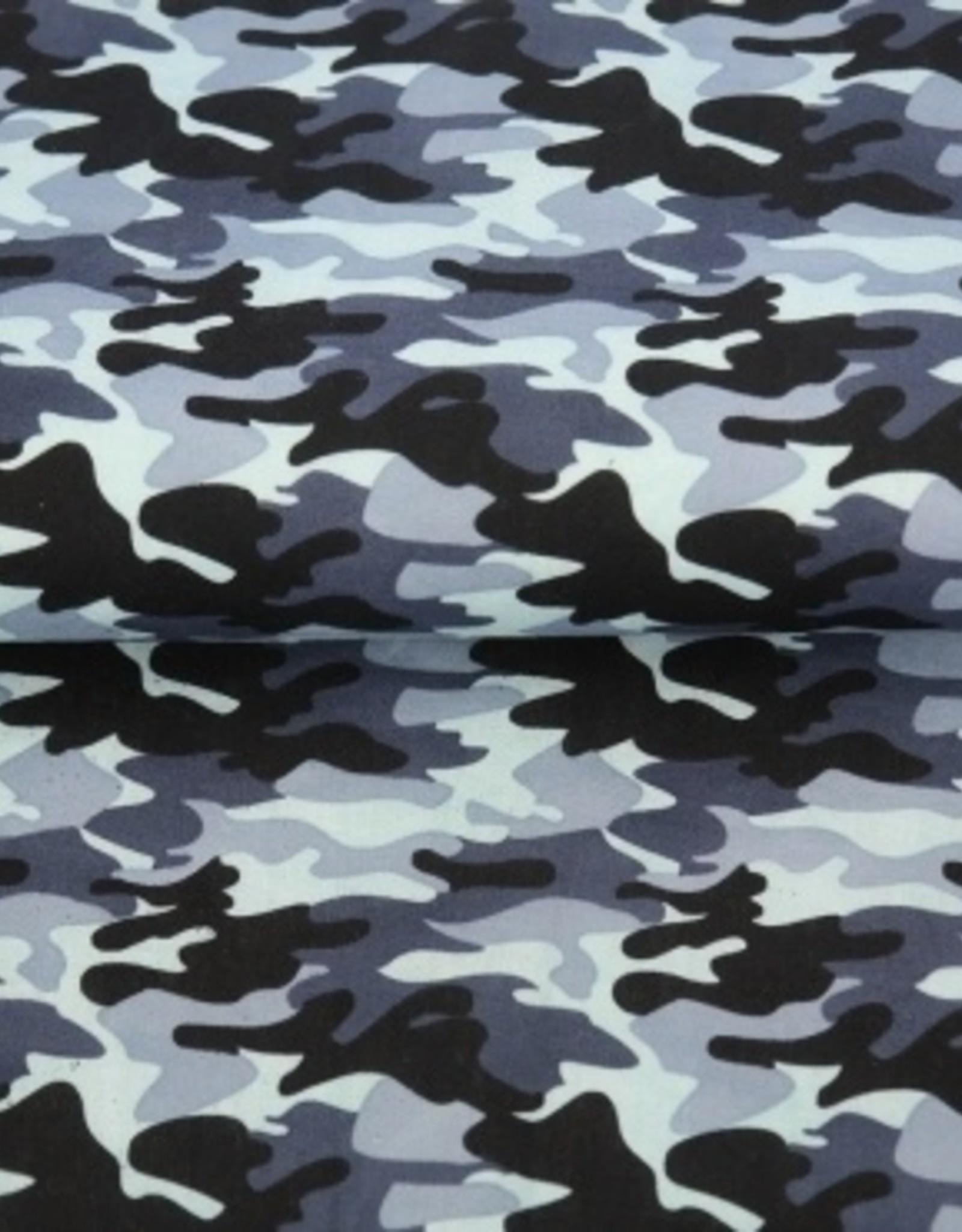 Coupon 115x140cm Legerprint blauw katoen