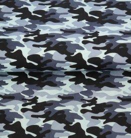 Legerprint blauw katoen