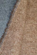 Toptex Double face mantelstof bruin/oudblauw diagonale strepen
