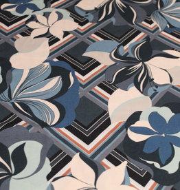 Toptex Viscose crepe bloemenprint retro munt/beige/petrol